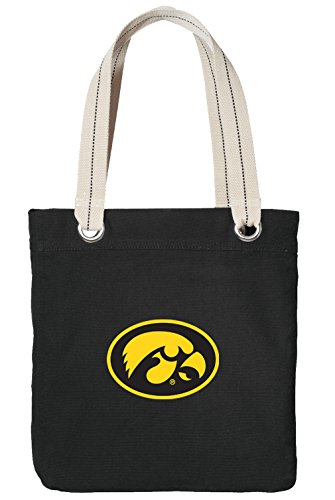 University of Iowa Tote Bag Rich Cotton Canvas Iowa Hawkeyes Bags Black ()