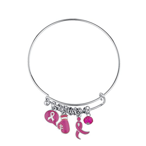 Lux Accessories Silvertone Pink Breast Cancer Awareness Ribbon Bangle Bracelet