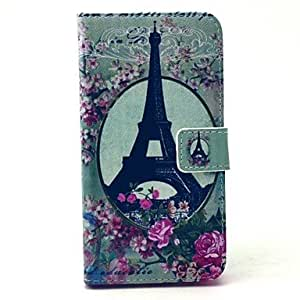 HJZ Flower Eiffel Tower Pattern PU Leather Full Body Case with Stand and Card Holder for Samsung Galaxy S6 Edge
