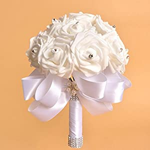 YJYdada Crystal Roses Pearl Bridesmaid Wedding Bouquet Bridal Artificial Silk Flowers (White) 3
