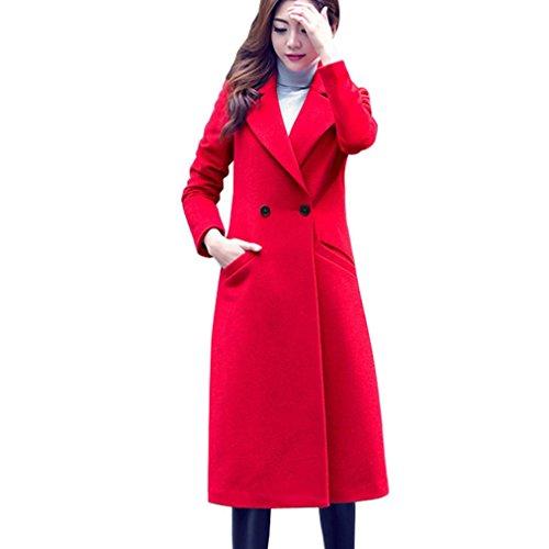 Red Overcoat (Transer Women Plus Size Long Cardigan Lapel Collar Trench Woolen Coat Parka Jacket Overcoat Outwear (Red, L))