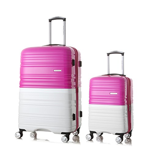 2 Pack Love Box[Boy and girl,daddy and boy,mommy and girl] 20''-28'' Luggage 360° Spinner Wheels Trolley Suitcase TSALock Travel Carryon Bag Hardside Travelhouse (Pink+White) by Chiuer (Image #8)