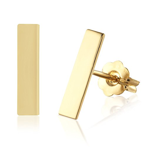 Balluccitoosi Bar Stud Earrings - 14k Gold Studs Earring with Pushback - Small Unique Jewelry for Girls and Womens - 10mm Tiny stick and Cute for Everyday Gold Stick Earrings