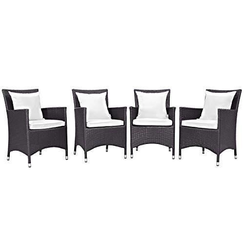Cheap Modway Convene Wicker Rattan Outdoor Patio Dining Armchairs With Cushions in Espresso White – Set of 4