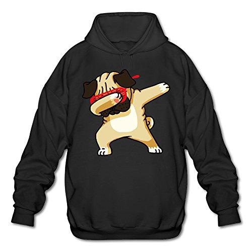 Pug Hoodie (Dabbing Pug Mens Hoodies Sweatshirt Fashion Casual Coat Black)