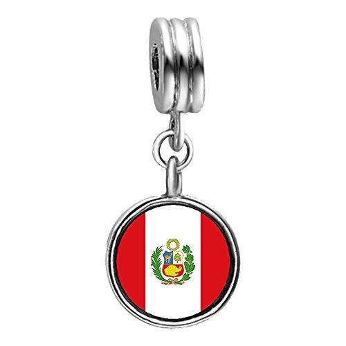 GiftJewelryShop Peru flag Photo Light Amethyst Crystal June Birthstone Flower Dangle Charm Bracelets
