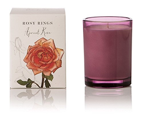 Rosy Rings Apricot Rose Botanica Glass Candle (Mauve) (Pretty Pink Bouquet)