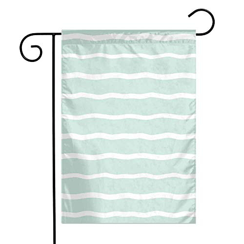 Mint Garden Flag Horizontal Wavy Lined Color Striped Abstract Soft Toned Nautical Art Display Premium Material W12 x L18 Almond Green White