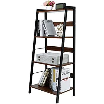 Lifewit 4 Tier Leaning Ladder Shelf Bookcase Bookshelf Stylish Multi Use Display Storage Wall Shelves Unit Rack, Carbon Steel & Wood