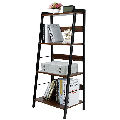 Lifewit Small 4 Tier Leaning Ladder Shelf Bookcase Bookshelf Multi Use Display Storage Wall Shelves Unit Rack, Carbon Steel & Wood