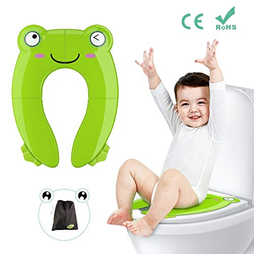 Potty Seat Folding Portable (Fansteck Foldable Potty Training Seat, Portable Non-Slip Pinch-Proof Travel Potty Toilet Seat for Boys, Girls, Babies, Toddlers, Kids, with Carry Bag, Frog Shape (Green))