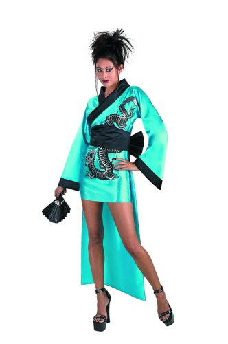 Dragon Geisha Halloween Costume (Disguise Women's Dragon Geisha Costume, Aqua/Black,  Adult L 12-14)