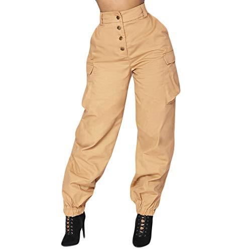 JOFOW Womens Cargo Pants Solid Straight Leg Side Pocket Military High Waist Kim Loose Long Casual Stylish Cool Trousers (L,Khaki)