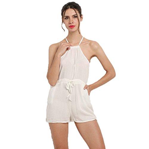 SFY Women Sleeveless Drawstring Waist Jumpsuit Solid Classic Crimping Jumpsuit