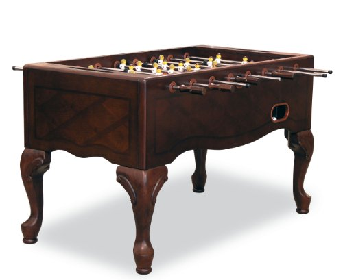 Dark mahogany foosball table with Queen Anne legs.