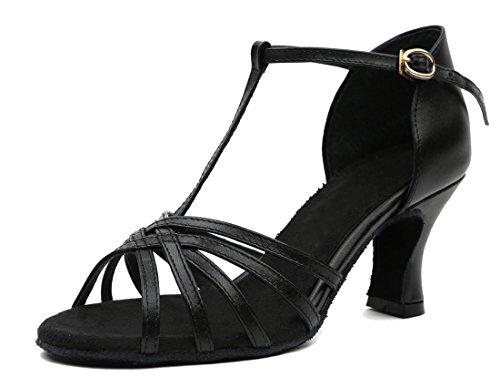 Tda Femmes Talon Moyen T-sangle En Cuir Sexy Salsa Tango Samba Rumba Chaussures De Mariage De Danse Latine Moderne Noir-6cm Talon