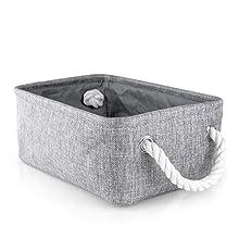 "iLoft Rectangle Toy Storage Basket Decorative Fabric Bin for Home, Office, Closet, Living Room, Playroom, Wardrobe Shelf, 12.6"" X 8.6"" X 5.5"", Grey"