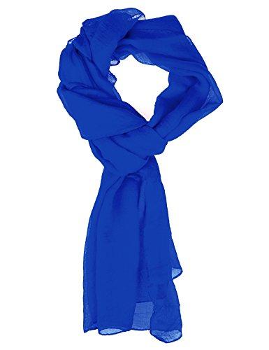 Blue Silk Long Scarf (Scarf for Women - Soft Chiffon Oblong Lightweight Silk Scarves Shawl Solid Color-Royal Blue)