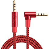 TRRS Cable,CableCreation Right Angle 4 Pole 3.5MM Male to Male Audio Stereo HiFi Cable with Silver-Plating Copper Core Compatible Car,iPhones,Speakers,Beats,24K Gold Plated,Red/1.5ft