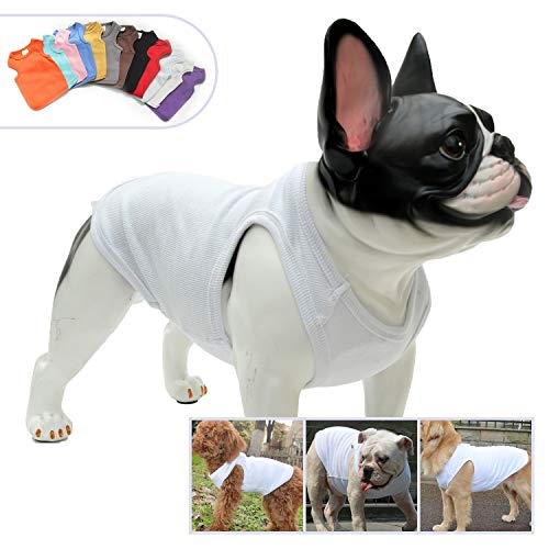 Lovelonglong 2019 Summer Pet Clothing, Dog Clothes Blank T-Shirts Ribbed Tanks Top Thread Vests for Bulldog Pit Bull Dogs 100% Cotton White XXL