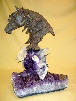 ブロンズHorse Sculpture Statue Sit On Semipreciousアメジストクリスタルストーン   B000Q6JSDS