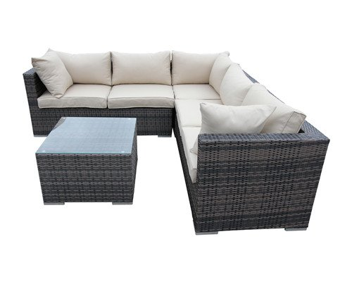 4 Piece Conversation Set Backyard Sectional Sofa - Taupe