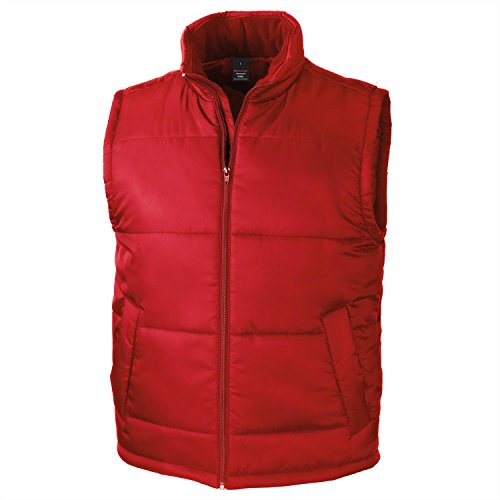 Men's Core Red Bodywarmer Plain Sleeveless Gilet - XS to XXL