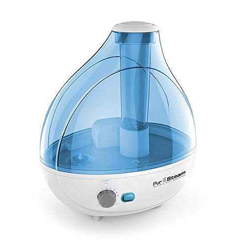 PurSteam Ultrasonic Cool Mist Humidifier – Superior Humidifying Unit with Whisper-Quiet Operation, Automatic Shut-Off, Night Light Function, and 17 hours Operating Time -
