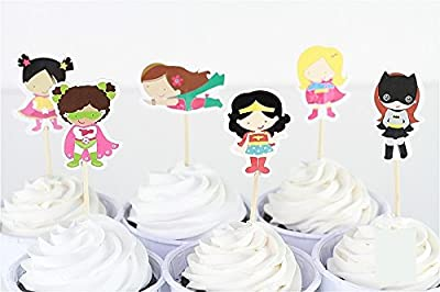 24pcs Girls Superhero Spiderman Batman The Avengers Candy Bar Cupcake Toppers Pick Baby Shower Kids Birthday Party Supplies