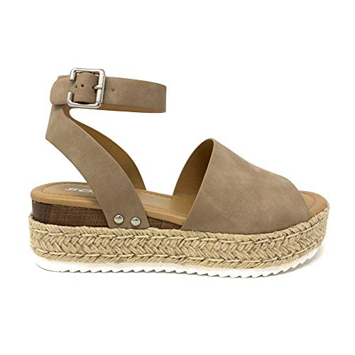 SODA Casual Espadrilles Trim Rubber Sole Flatform Studded Wedge Buckle Ankle Strap Open Toe Sandal (6 M US, Natural T)