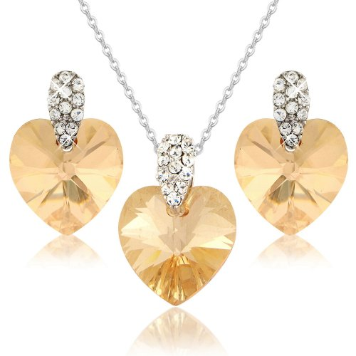 Swarovski Elements Champagne Colour Vintage Style Crystal Jewelry Heart Set - Gold Tone - Gift Boxed (Boxed Champagne)