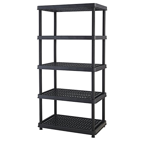 (Keter 5-Shelf Heavy Duty Utility Freestanding Ventilated Shelving Unit Storage Rack, Black)