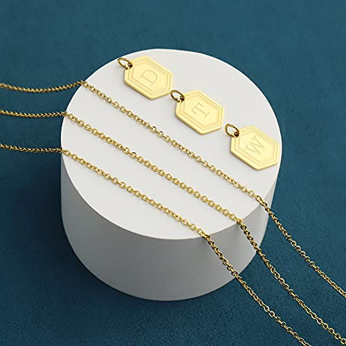 UHIBROSNecklaces for Women, 14K Gold Plated Hexagon Initial Necklaces, Dainty Personalized Alphabet Letter Choker with Adjustable Chain Pendant, Jewelry Gift for Women, Girls or Men-K