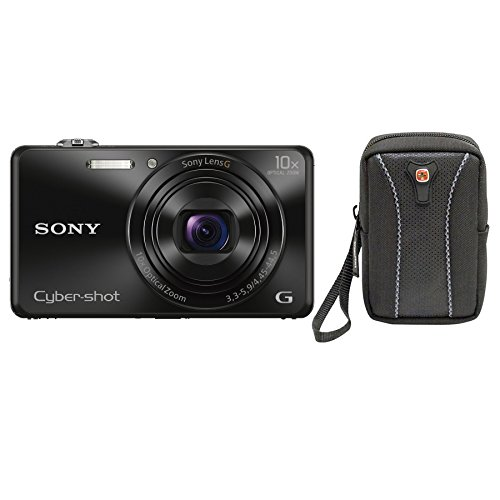 Sony DSCWX220/B 18.2 MP Digital Camera with 2.7-Inch LCD (Black) (Black w/ case)