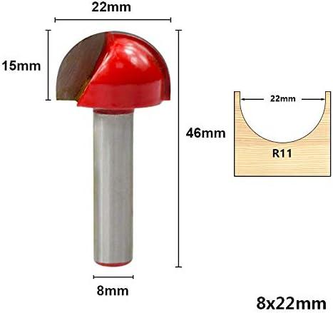 WITHOUT BRAND 8mm Schaft Eckrundung Fräser 16/19 / 22 / 25mm Holz Fräser for Holz Carbide Kugelfräser Gravur Bit (Größe : 1pc 8x22mm)