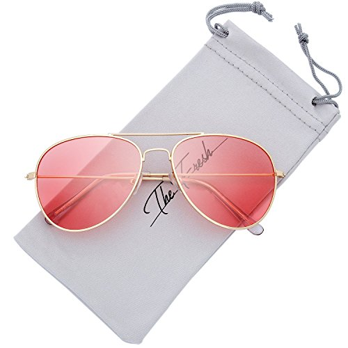 Lens Sunglasses Pink - The Fresh Classic Large Metal Frame Polarized Lens Aviator Sunglasses with Gift Box (Gold, PINK)