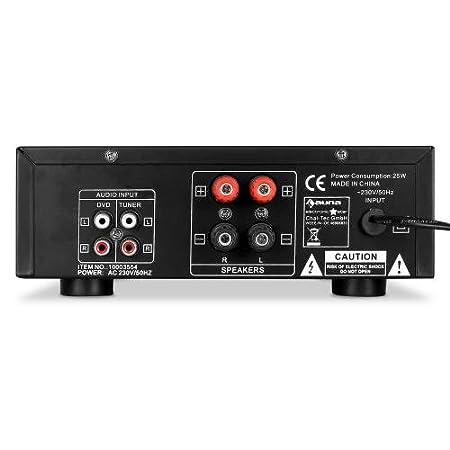 600 W de Potencia, 3 entradas Frontales para micros de 6,3 mm, Ecualizador de 7 Bandas, 2 Conexiones de Tornillo para Altavoces, Salida RCA Auna Pro1-Sing Amplificador HiFi