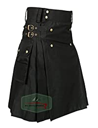Men's Stylish Black Wedding Utility Kilt - Utility Kilts