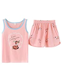 KINYBABY Girls Cotton Sleeveless Sleepwear Cute Bear Pajama Sets Nighty Loungewear