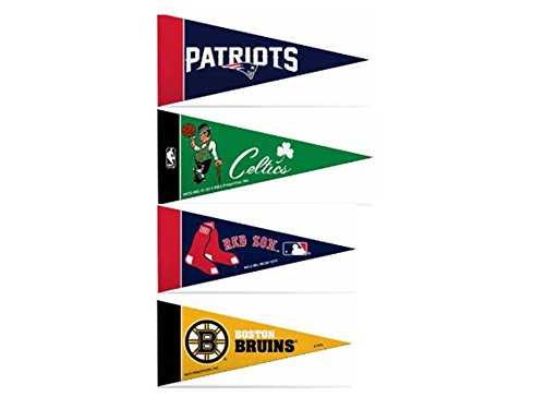 Zipperstop Officially Licensed Mini Pennants Fan Pack Set Includes Patriots, Bruins, Red Sox & Celtics 4