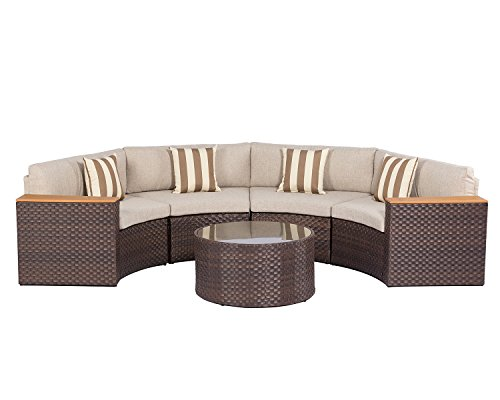 Solaura Outdoor 5-Piece Half-Moon Crescent Sectional Furniture Set All Weather Brown Wicker with Light Brown Waterproof Cushions & Sophisticated Glass Coffee Table | Patio, Backyard, Pool (Glass Top Moon Half)