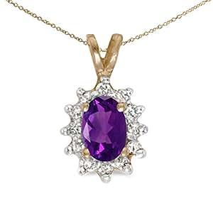 14 K oro amarillo oval amatista y diamante de colgante