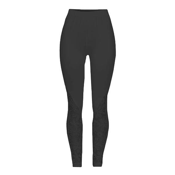 BaZhaHei-Pantalones de mujer Encaje Sexy Negro Strechy elástico Pantalones  de Cintura Alta Pantalones para Correr Women Lace Solid High Waist Pants  Trousers ... 5ac2e2075d94