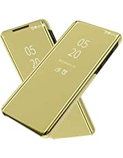 Wuzixi Case for Huawei Y9 Prime 2019. Plating Ultra Slim Fit Mirror Makeup Plating Flip Case, Mirror Protective Case with Kickstand, phone case for Huawei Y9 Prime 2019.Gold