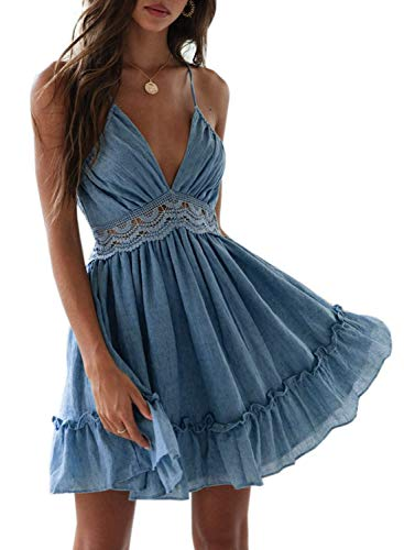 Dokotoo Womens Fashion Summer Ladies Spaghetti Straps V Neck Sleeveless Backless Lacing Crochet Solid Skater Flare Pleated Swing A Line Flowy Dress Blue Small
