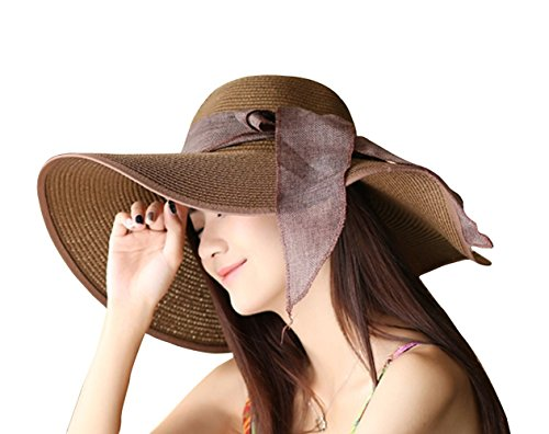 e4e472ef Kaisifei Bowknot Casual Straw Women Summer Hats Big Wide Brim Beach Hat