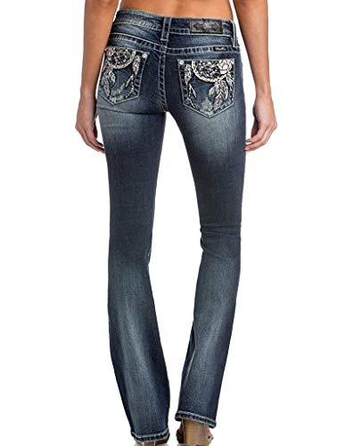 Miss Me Junior's Dreamcatcher Mid-Rise Stretch Boot Cut Jeans, Dark Blue 34 from Miss Me