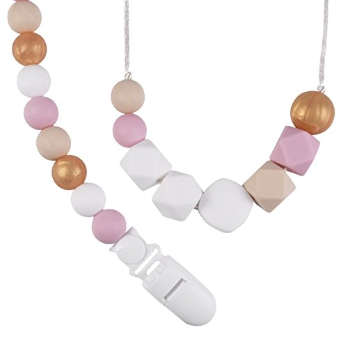 Teething Necklace and Pacifier Clip, Set of 2 Pink/Gold Designs for Moms and Girls, Silicone Pacifier Holder, Teether Toy and Binky Leash for Baby Soothie