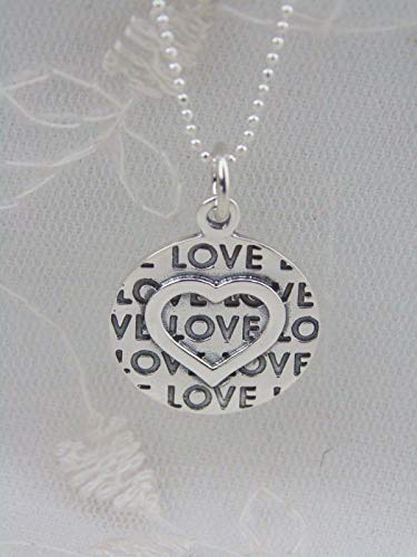 - Silver Heart Pendant Necklace For Women Circle Love Message Jewelry NEW