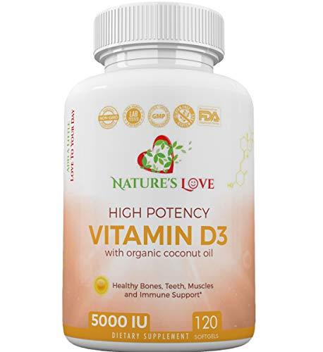 (Vitamin D3 5000 IU In Oganic Coconut Oil- Premium Quality Vitamin D3, Made in USA Non-GMO, Gluten Free, Soy Free, Dairy Free and Heavy Metal tested, for Healthy Muscle, Bone, Teeth and Immune support. )